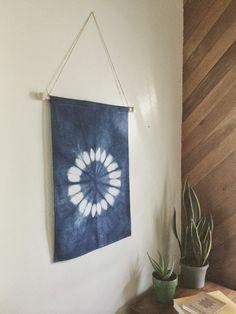 Sunflower Indigo Shibori Wall Hanging 18x28 by EarnestDryGoods