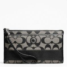 Coach Signature Stripe Zippy Wallet Black and White 48072 Coach. $118.99