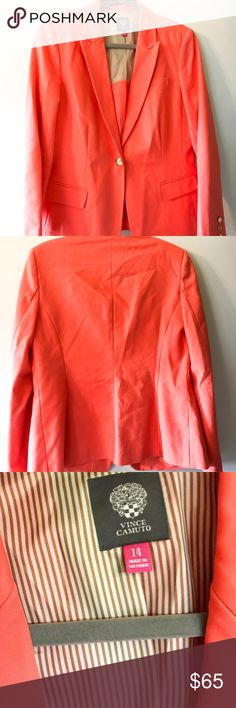Vince Camuto Papaya Blazer Wonderful Blazer. Gorgeous Papaya (pinkish orange) color. A great way to stand out at work or in an interview. Vince Camuto Jackets & Coats Blazers