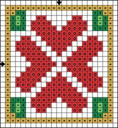 Free Cross Stitch Pattern - Christmas Hearts: Free Christmas Hearts Cross Stitch Pattern - Color Symbol Pattern