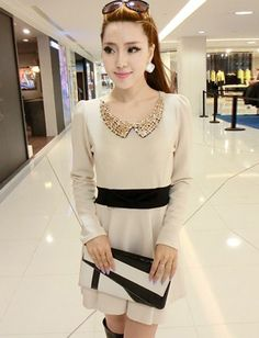 Sweet Style Gem Detail Collar Dress