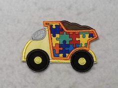 Dump Truck Autism Awareness Puzzle Piece (small) Tutu & Shirt Supplies - fabric iron on Applique Patch 8179 by TheFabricScene on Etsy