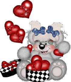 Imagen gif de ositos enamorados con animación de corazones y brillantes osito…