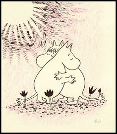 valentines day romance moomin style Moomintroll and Snorkmaiden Mumintrollet och Snorkfröken