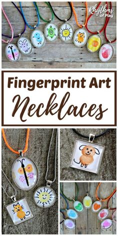 Fingerprint Art - Use your fingertips and thumbprints to create fingerprint artwork! Then, take your creation and turn it into a necklace! DIY fingerprint art necklaces are a fun and easy personalized craft...and they make the perfect gift idea! | #DIYGift #HandmadeGift #JewelryMaking #FingerprintArt