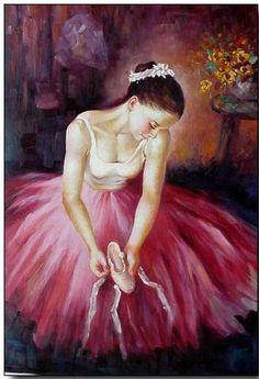Ballet oil painting,Ballet Oil Painting, Oil paintings of ballet dancers -