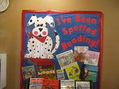 Love re-using my Spot the Dog cutout. Dog Bulletin Board, Elementary Bulletin Boards, Reading Bulletin Boards, Library Themes, Library Displays, Book Displays, Library Ideas, School Classroom, Classroom Themes
