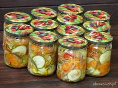 Surówka z cukinią na zimę według Babci Canning Recipes, Chutney, I Foods, Preserves, Pickles, Cucumber, Mason Jars, Treats, Healthy