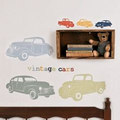 Wall Decals Cars (Reusable and removable fabric stickers, not vinyl) - Vintage Cars $70