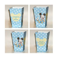 10 Personalized Baby Mickey mouse treat POPCORN box