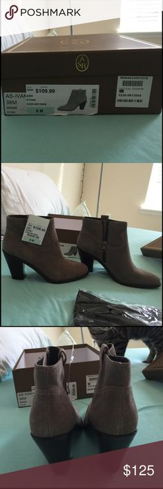Brand New Never Worn Ash Ivana Stone Suede Boots AS SEEN ON JOJO THE BACHELORETTE. Brand new never worn. Bought them in a size 7 and an 8 but missed the 30 day return policy. They are a size 8 but can fit a size 7 with socks. True to size. So adorable and comfortable!! Original price is $250. JOJO FLETCHER from The Bachelor has these  exact booties!! :) ash ivana Shoes Ankle Boots & Booties