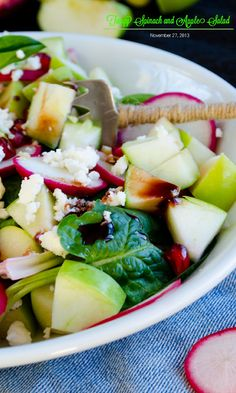 Spinach and Apple Salad - I just love salads with fruit in it, really freshens it up!