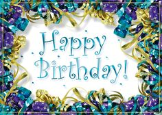 Birthday Ribbons A Shiny Teal Foil Wish Is Surrounded By Purple And Gold