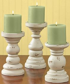 Three-Piece Southport Candlestick Set  Small: 6'' H x 4'' diameter Medium: 7'' H x 4'' diameter Large: 8'' H x 4'' diameter 47.99