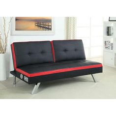 Duoton Convertible Futon in Red and Black | Nebraska Furniture Mart