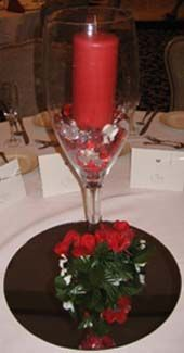 Red and White Wedding Centerpiece Idea