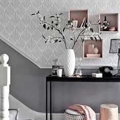 The ultimate in #Blush finishing touches to #Grey themed #Interiors and @Madedotcom's new-old style pendant lights are the icing on the cake on today's #Home edit over at SheerLuxe.com/Home. #Decor #Style #ChicHome #White #Flowers #Stairs #Hallway
