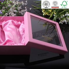 High end luxury square cardboard gift box package with clear window and silk $0.50~$2.00