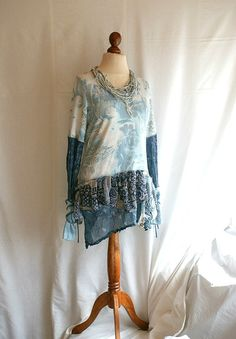 Blue Tattered Fairy Tunic M L Medium Large Upcycled by cutrag, $78.90