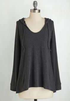 Cookie Competition Hoodie in Charcoal - Mid-length, Grey, Solid, Casual, Hoodie, Long Sleeve, Variation, Basic, Athletic, Top Rated