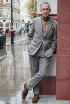 """he's wearing a McCann bespoke suit and Loake shoes. From Charlie Thomas, """"Why The Suit Will Never Die: Six Menswear Experts,"""" Fashion Beans January Older Mens Fashion, Mens Fashion Suits, Mens Suits, Suits Women, Moda Men, Gentleman Style, Gentleman Fashion, True Gentleman, Brown Suits"""
