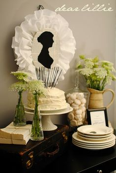 White Jane Austen Party - Queen Anne's Lace Arrangements