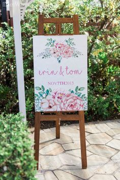 Pink floral wedding welcome board, wedding stationery, welcome wedding sign, wedding ideas, wedding inspiration SOFT AND SPARKLY AUSTRALIAN WEDDING www.elegantwedding.ca