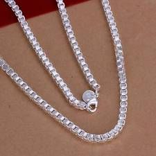 Unique Jewelry - Fashion 925Sterling Solid Silver Men Jewelry Box Chain Necklace For Women N016