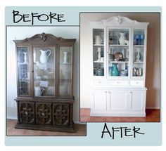 Super Painting Furniture Before And After Hutch Makeover China Cabinets Ideas Refurbished Furniture, Repurposed Furniture, Furniture Makeover, Vintage Furniture, Painted Furniture, Home Furniture, Hutch Furniture, Outdoor Furniture, Furniture Ideas