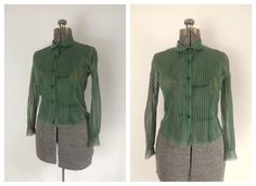 Sheer Pintucked Blouse Rhinestone Buttons Peter Pan Collar Vintage 1940s 1950s. $40.00, via Etsy.