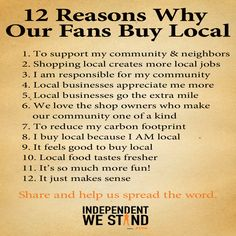 "Next time you're tempted to command followers or fans to ""shop local"", try giving them a compelling REASON to do so. Here's 12; I'm sure as a consignment or resale shop owner you can think of even more! 12 Reasons Why People Buy Local"