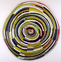Layered Disc #1, 23 inches, acrylic, ink, carved drawing on shaped wood panel.(c) 2015 Barbara Gilhooly