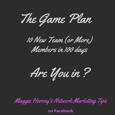 Are You Ready??? FOR The Game Plan?  It's for each and every one of you to recruit 10 people to your Business in 100 days It's the 10 x 10 challenge  10 days at a time  recruiting  one new person every 10 days! Stop struggling and follow me with this Challenge!! It's not without work It's not instant It's not a get rich quick scheme IT IS A PROCESS IT'S A JOURNEY If you want to learn more  Join my Facebook Group  for FREE training Click the LINK in my BIO  #happiness#personalgrowth…