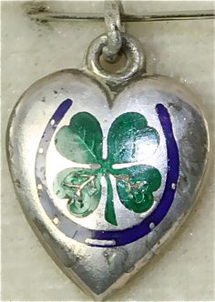 VICTORIAN ANTIQUE STERLING SILVER GOOD LUCK HEART CHARM