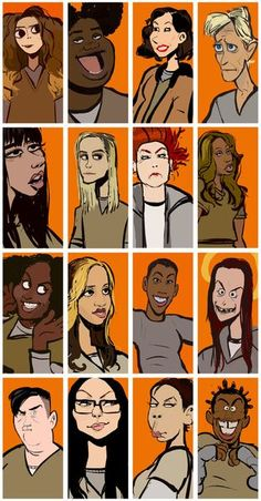Nicky, Black Cindy, Morello, Yoga Jones, Flaca, Piper, Red, Sophia, Taystee, Daya, Poussey, Pennsatucky, Big Boo, Alex, Gloria, Crazy Eyes