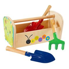 My son loves to garden (or make a mess in the garden).  Love these safe toys for him!