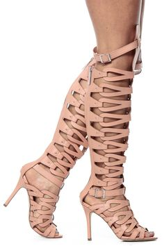 Breckelles Nude Single Sole Thigh High Gladiator Heels @ Cicihot Heel Shoes online store sales:Stiletto Heel Shoes,High Heel Pumps,Womens High Heel Shoes,Prom Shoes,Summer Shoes,Spring Shoes,Spool Heel,Womens Dress Shoes