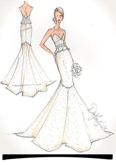 Custom Bridal Illustration. $190.00, via Etsy.