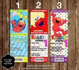 Sesame Street Elmo Show Birthday Party Ticket Invitation