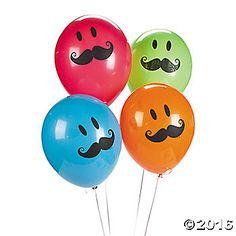 Smile Face Mustache Latex Balloons