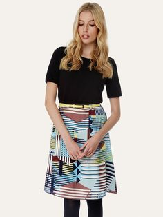 Stripe Geo Print A-Line Skirt