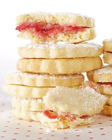 "This recipe is adapted from ""Martha Stewart's Cookies."" lemon raspberry sandwich cookies."