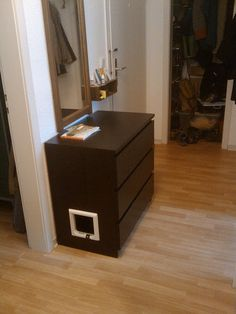 Cute and straightforward IKEA hack. Turn the MALM dresser into a litter box enclosure!