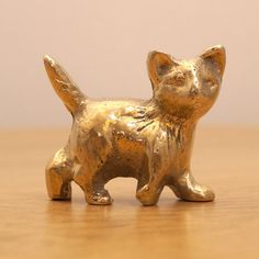 Kitten Figurine. Sculpture of a small cat. Solid brass vintage miniature by UKAmobile