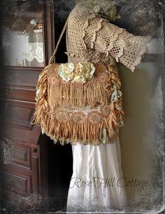 Shabby, Victorian, Boho OOAK Fringed Purse, Velvet with Hand Crochet and Roses