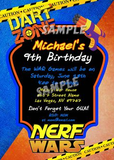 Personalized Nerf War Birthday Party Invitations Birthday Party