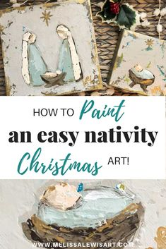 Watch this video to learn how to paint your own Christmas nativity scene or a simple baby Jesus in the manger on canvas by Melissa Lewis. art How to paint Nativity and Manger Christmas mini's for gift's or yourself! Christmas Minis, Christmas Projects, Christmas Time, Christmas Manger, Christmas Jesus, Christmas Ideas, Diy Christmas Nativity Scene, Church Christmas Craft, Xmas