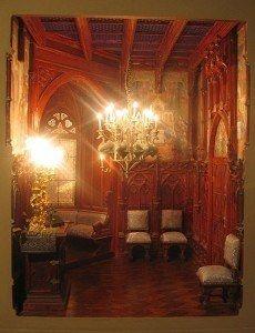 The Neuschwabstein bedroom in one of the lavish castles of Ludwig II of Bavaria-----via Dollhouse Decorating | Robert Dawson, Miniature Artisan | http://dollhousedecoratingblog.com