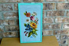 vintage needlepoint framed upcycled aqua robin by UpcycledWhimsies, $28.00