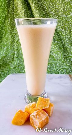 This refreshing Peach Mango Kefir Smoothie is packed with protein and probiotics, perfect for a busy morning. THM friendly, low fat, nut milk free. Oh Sweet Mercy